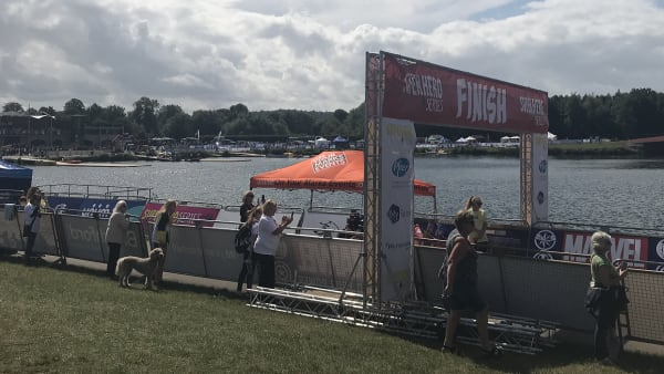Finish line at the Superhero Series Triathlon at Dorney Lake, Windsor