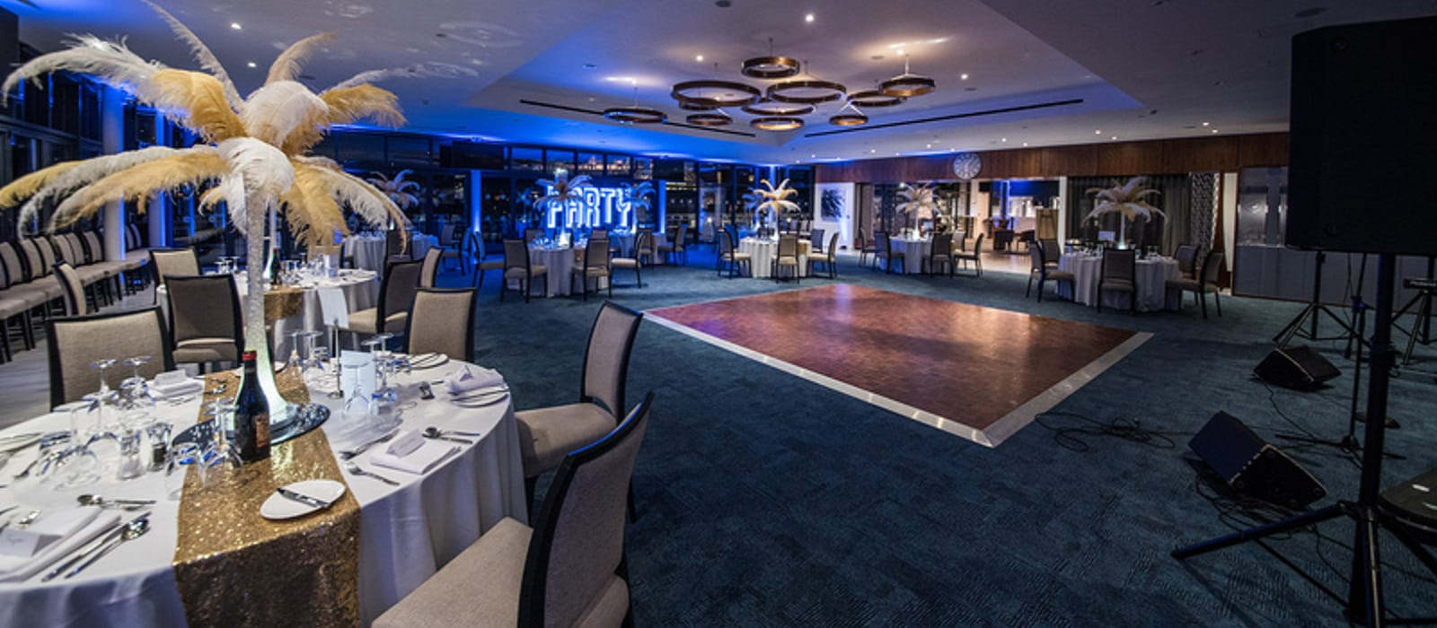 The Owners Club at Newbury Racecourse set up for a ball