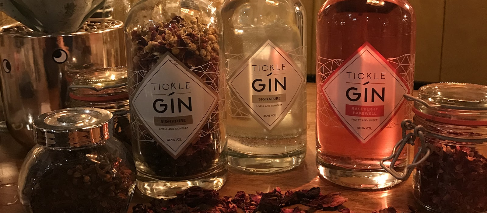 Tickle gin bottles at Swings & Smiles Gin Night